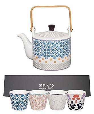 Tokyo Design Studio, Théière 0.8L + 4 tasse, Motif Boabab