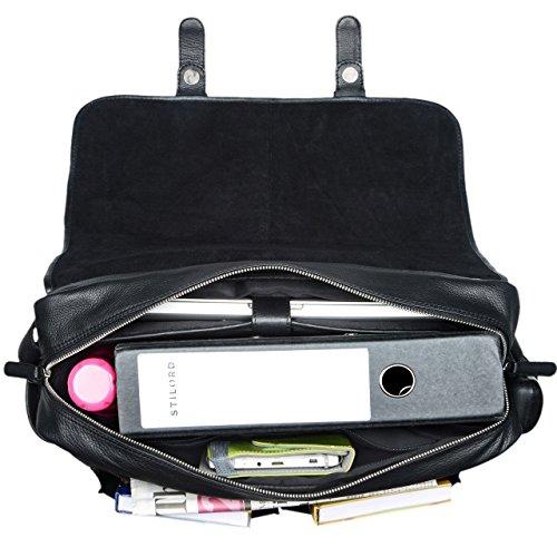 249ebed724 STILORD 'Maxime' Sac Bandoulière Homme Cuir noir Sac Besace XL pour  Classeur A4 Ordinateur Portable 15 ...