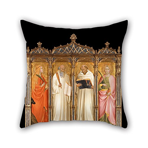 alphadecor Ölgemälde Gaddi, Agnolo–St. Maria Magdalena, St. Benedikt, St. Bernard von clairveaux und St. Catherine von Alexandria Überwurf Kissen 45,7x 45,7cm/45von 45cm für Mädchen, Home, F