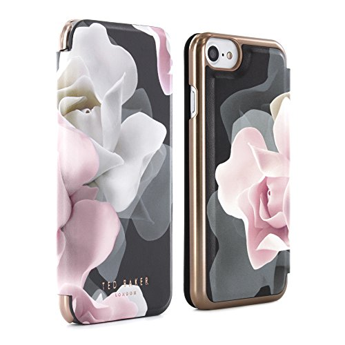 Official Ted Baker Aw16 Knowane Mirror Folio Case For Iphone 8, 7, 6s - Porcelain Rose - Black