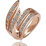 Popular Elegant Jewelry Rose Gold Crystal Wedding Engagement Band Ring