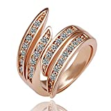 Popular Elegant Jewelry Rose Gold Crystal Wedding Engagement Band Ring