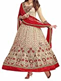 I-Brand Chicku Color Net & Brasso Fabric Embroideried Salwar - Suit (Semi-Stitched)( New Arrival Latest Best Design Beautiful Dresses Material Collection For Women and Girl Party wear Festival wear Special Function Events Wear In Low Price With High Demand Todays Special Offer and Deals with Fancy Designer and Bollywood Collection 2017 Punjabi Anarkali Chudidar Patialas Plazo pattern Suits )
