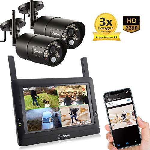 """Sequro GuadrPro DIY überwachungssystem mit 7\"""" Funk-Touchbildchirm. 2 Aussen und Innen HD 720p Sicherheitskameras. IP66/Wetterfest Kameras."""