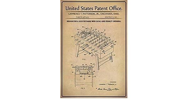 US Patent Tischkicker Soccer Rable 1975 Blechschild Schild Tin Sign 20 x 30 cm