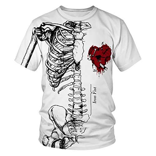 Cosplay Iron Kostüm Fist - Leezeshaw Herren T-Shirt, 3D-Druck, lustiges Halloween-Muster, kurzärmelig, lässig, Cosplay-Top, S-3XL Gr. XXL, Iron Fist#01