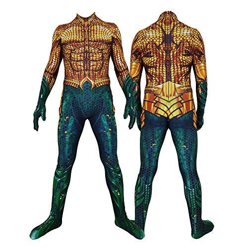 WEGCJU Erwachsene Kinder Aquaman Schlacht Kleidung Halloween Kostüm Overall Für Erwachsene Kinder Halloween Kostüm,Adults-XL