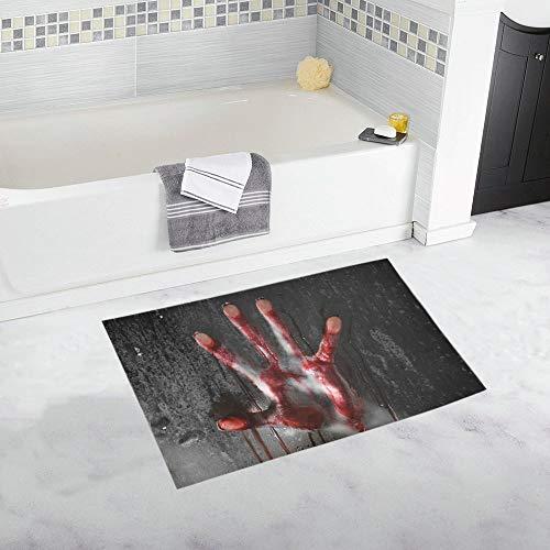Soefipok Horrorszene mit blutiger Hand gegen Glas Halloween-Dekor Rutschfeste Badteppich-Matte Saugfähige Badezimmer-Fußmatten-Fußmatte