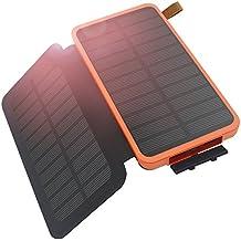 Hiluckey Cargador Solar 8600mAh Portátil Power Bank 2 Solar Panels Solar Banco de energía Batería Externa con LED para iPhone,ipad,Samsung,Tablets,Otros Dispositivos(Plegable,Impermeable)