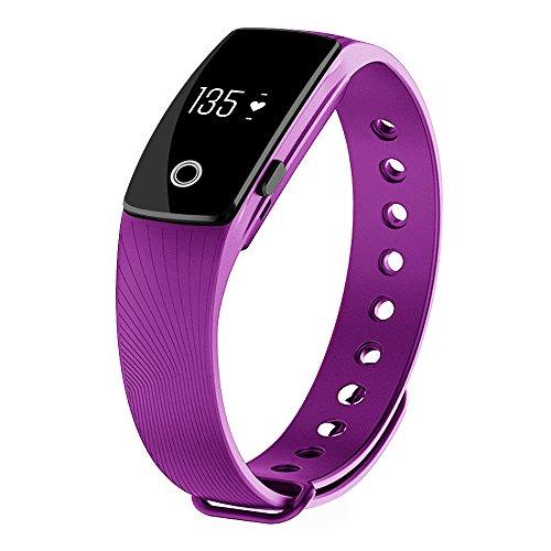 morefit H3Cardiofrequenzimetro Fitness Tracker, Wireless Bluetooth impermeabile touch screen orologio intelligente sano Braccialetto (Viola Bluetooth)