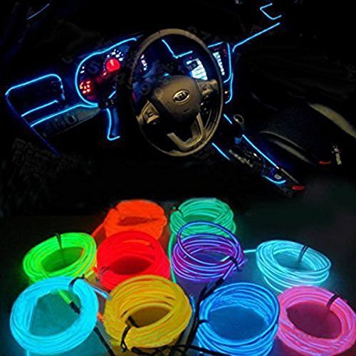 Prasoum Wire/String/Strip/Rope/Tube Glow EL Neon LED Light with Adapter 5 m (Multicolour)