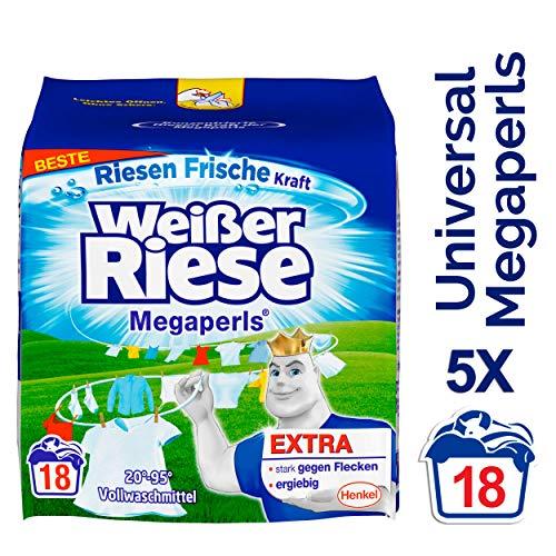 Weißer Riese Universal Megaperls, Vollwaschmittel, 5er Pack (5 x 18 Waschladungen)