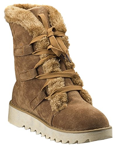Minetom Mujer Otoño E Invierno Plano Botines Calentar Pelaje Botas De Nieve Atada Zapatos Caqui EU 39