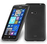 Cadorabo Hülle für Nokia Lumia 625 - Hülle in Schwarz – Handyhülle aus TPU Silikon in gebürsteter Edelstahloptik (Brushed) Silikonhülle Schutzhülle Soft Back Cover Case Bumper