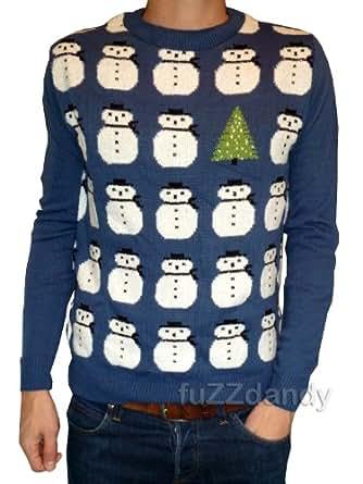 Mens Ladies Christmas xmas Blue snowman tree jumper xs s m l xl kitsch (XXL)