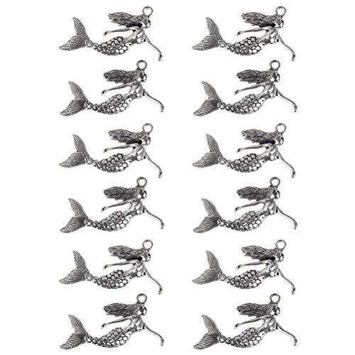 TOPBATHY 12pcs Legierung Meerjungfrau DIY Schmuck Charms/Beads Charms Anhänger, zum Basteln, Schmuckzubehör Machen