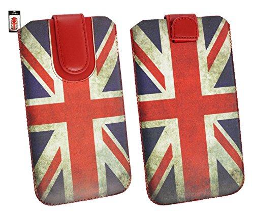 Emartbuy® Union Jack Print Premium PU Leder Slide in Hülle Case Cover Sleeve Cover Holder (Size 5XL) Mit Ausziehhilfe geeignet für Allview P6 QMax Smartphone