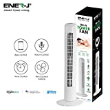 ENERJ WIFI Tower Fan with Remote Control 32 Inch Oscillating Quiet, 3 Speed Wind Mode Standing Cooling Fans for Home & Office (White)