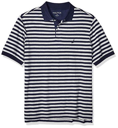 Nautica Herren Classic Fit Short Sleeve 100% Cotton Stripe Soft Polo Shirt Poloshirt, Navy, LT Hoch -