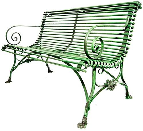 Casa Padrino Schmiedeeisen 2er Gartenbank - Gartenbank mit Klauenbeine, Farbe:grau