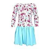 TupTam Mädchen Langarm Kleid Gerafft Sommerkleid Baumwolle, Farbe: Blumen Türkis, Größe: 104