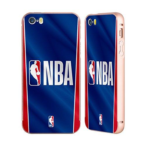 Ufficiale NBA Gradiente Mezzotono Logoman Oro Cover Contorno con Bumper in Alluminio per Apple iPhone 5 / 5s / SE Banner