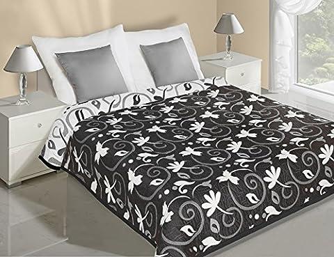 Bettüberwurf Tagesdecke Will zweiseitig Schwarz/Weiß 220 cm x 240