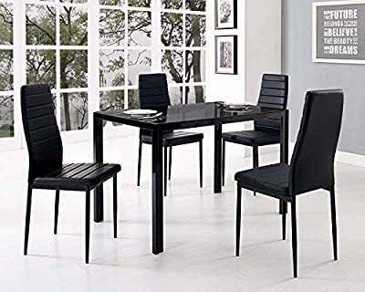 Designer Style Black Glass Dining Table Set With 4 Faux Leather Chairs