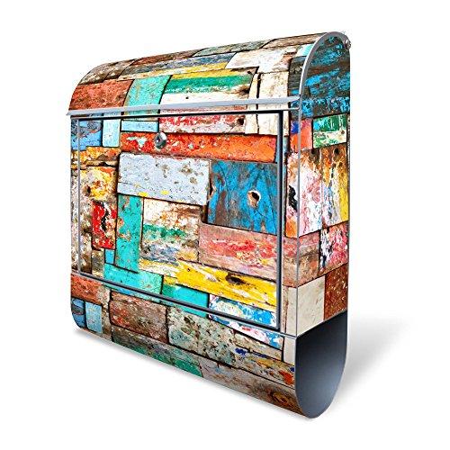 BANJADO Design Briefkasten mit Zeitungsfach, 2 Schlüssel, A4 Einwurf, silber pulverbeschichtet, mit Motiv Bunte Holzschindeln
