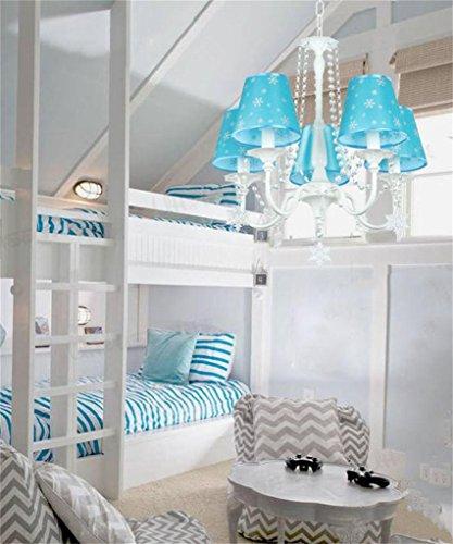 CAIJUN Hängeleuchte Blaue Prinzessin Zimmer Kristall Kronleuchter Kinder Schlafzimmer Mädchen Schlafzimmer Lichter Creative Arts LED Augenschutz Kronleuchter Dekorative Leuchten -