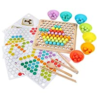 Volwco Kid Hands Brain Training Toys Math Game, 2019 Newest Montessori Educational Toy, Fun Clip Beads Puzzle Board Toys for Children 2 3 4 Years Old