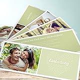 Hochzeits Einladungen, Reis werfen 200 Karten, Kartenfächer 210x80 inkl. weißer Umschläge, Grün