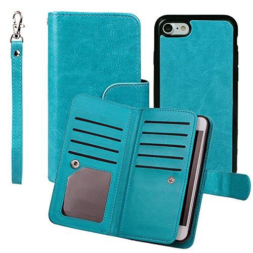 """xhorizon TM FM8 Cuir Premium Folio étui [ la fonction de portefeuille] [magnétique détachable] Sac à main bracelet souple Carte Multiple couvrefente pour iPhone 7(4.7"""") bleu"""