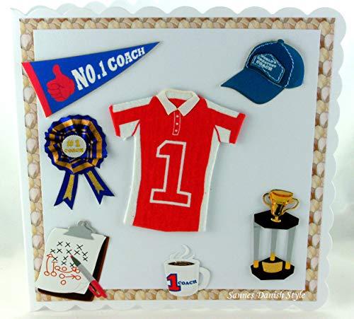 Grußkarte für Trainer mit Shirt, Mütze, Pokal, ca. 15 x 15 cm