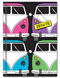 Collins A5 Retro Week to View Mid Year Diary for 2014 and 2015 - Black