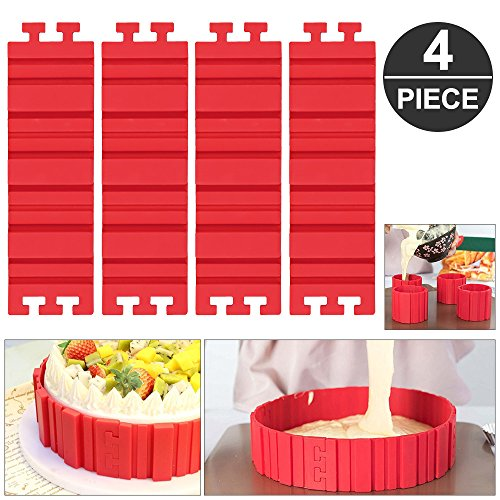 Silikon Backform,Mopoin Bake Snake Kuchenformen Tortenring Verstellbar Nonstick Cake Mould für DIY Fondant Backen oder Design Kuchen jede Form,4 stück