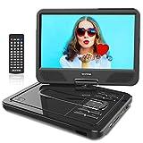WONNIE 12.5' Reproductor de DVD Portátil con Pantalla Giratoria para Coche Soporte SD/USB/CD/DVD/MP3/JPEG 4 Horas Batería Recargable con Mando a Distancia