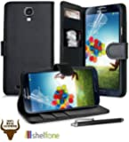 Stylish Protective 100% REAL GENUINE COW LEATHER FLIP CASE POUCH COVER CARD HOLDER WALLET FOR Samsung Galaxy S4 IV I9500 + Includes FREE STYLUS + FREE SCREEN PROTECTOR Exclusive by Shelfone � (BLACK LEATHER)