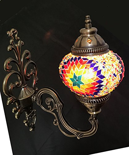 Multicolor Handmade Moroccan Turkish Ottoman Style Mosaic Wall Sconce Lamp Light with Globe UK