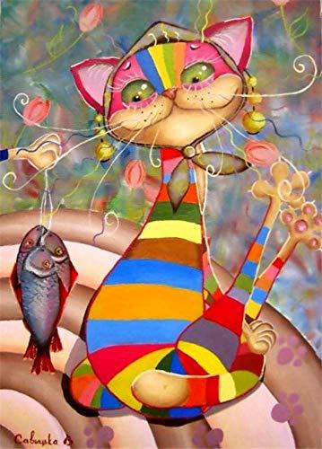 ion Diy 5D Diamant Malerei Cartoon Tier Katze Runde Diamant Mosaik Dekoration Stickmuster Stickerei Handgemachte Jahr Geschenk Bohren Voll Kunst Handwerk Wandaufkleber, Ibuprofen ()