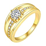 #10: YELLOW CHIMES Single Stone Sparkling Layer 18K Gold Plated Cubic Zircon Designer Ring for Women