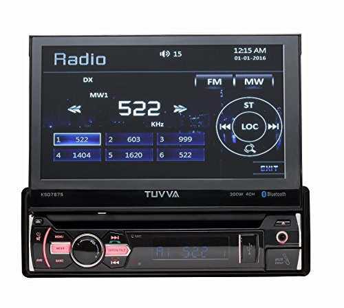 TUVVA 7' Sinle DIN Car Stereo Touch Screen GPS Navigation, DVD/ CD/ USB/ AUX-IN/ PhoneLink/ RDS/ Remote Control