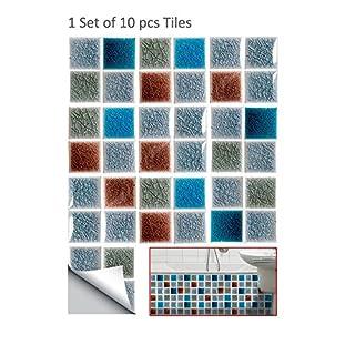 AOLVO Mosaik Fliesen Aufkleber, 10 Stk 3D Wandtattoo Abnehmbare Duett  Keramik Fliesen Aufkleber Wasserdicht PVC
