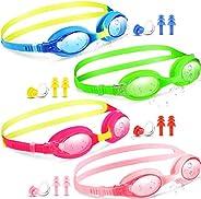 Hiboom 4 Pieces Kids Swim Goggles Colorful Child Swimming Goggles Soft Silicone Frame No Leaking Swim Glasses