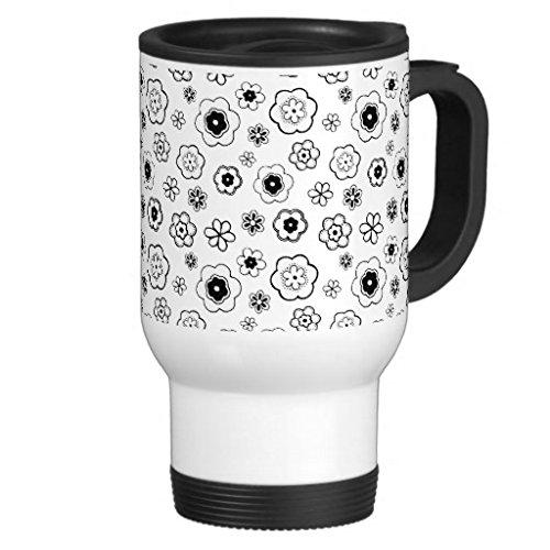 hiekon joli motif floral fleurs Noir et blanc tasse de voyage en acier inoxydable, 14-Ounce