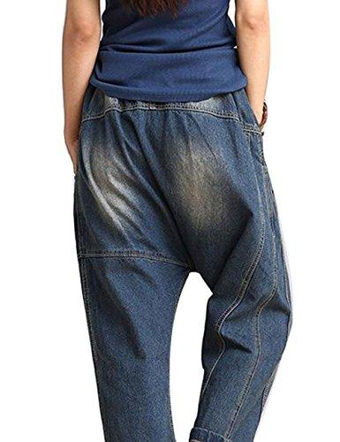 Youlee Donne Elastico in Vita Denim Jeans A Vita Alta Capri Pantaloni Blu Blu
