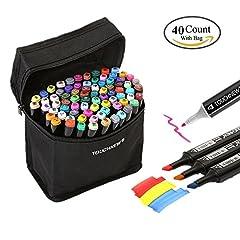 Idea Regalo - Togood | 40diversi colori per bozzetti artistici: pennarelli, due punte - fine e spessa | Set professionale di pennarelli per colorare, dipingere, manga, design | Per adulti e bambini