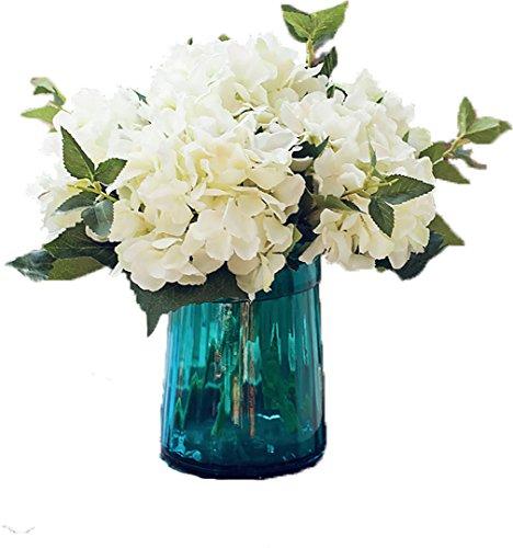 Lnhomy, bouquet di ortensie artificiali lannu, fiori finti in seta, decorazione da parete per casa, matrimonio, confezione da 3 bianco