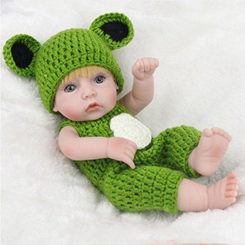 autone Reborn Baby Baby Puppe mit Frosch Tuch, handgefertigt lebensecht Silikon Vinyl beschwert Alive Puppe für Kleinkinder Geschenke 27,9cm -