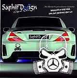 Mercedes-Benz / Totenkopf - Sehr Coole - Aufkleber - Tuning Autoaufkleber A97 / 10x10cm Hochleistungsfolie in der Farbe Weiß0704725845631